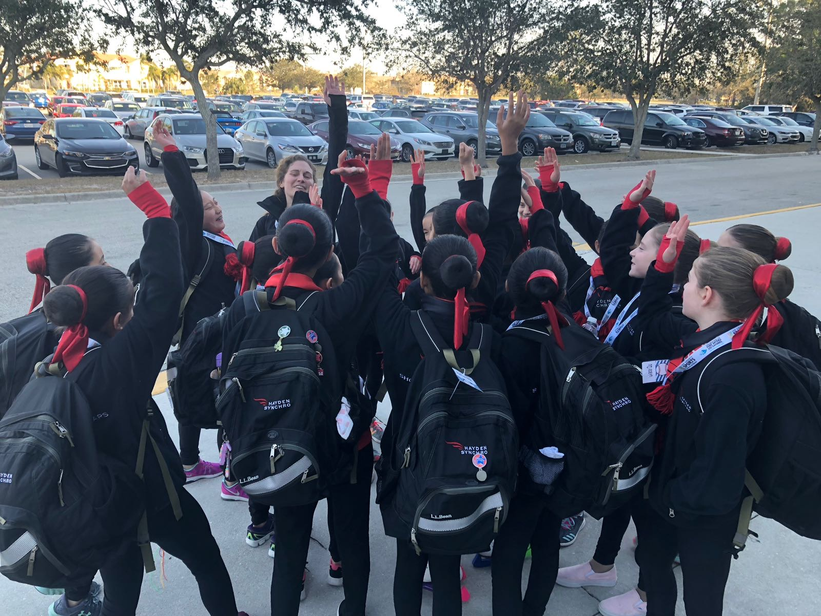 2018 Shooting Stars huddle before skating Eastern Sectional Final round.